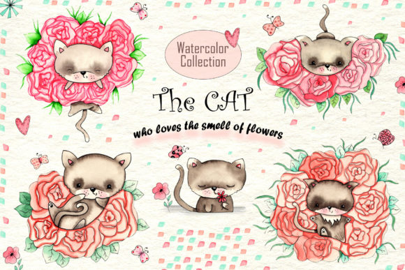 Cats and Flowers Freebie