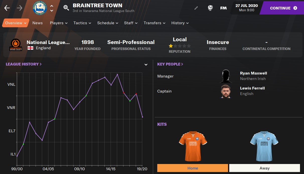 Braintree Town Football Manager 2021