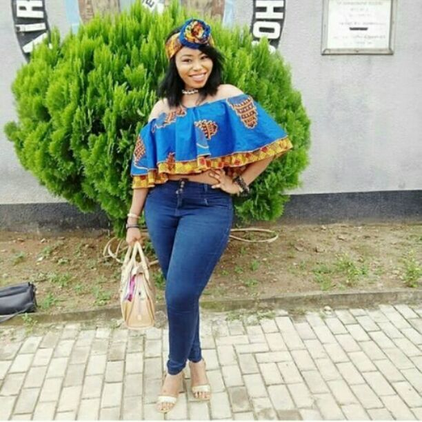 Ankara top on jeans