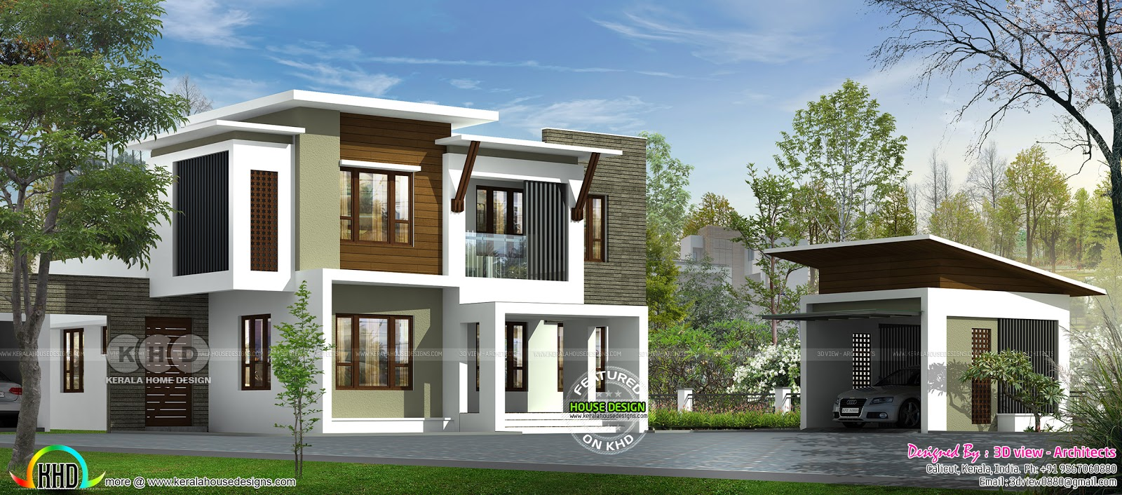 Contemporary house design by 3d view architects kerala for Home design 3d view