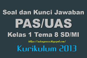 Download Soal dan Kunci Jawaban PAS/UAS Kelas 1 Tema 8 SD/MI Kurikulum 2013