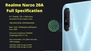 Realme Narzo 20A Harga dan Spesifikasi