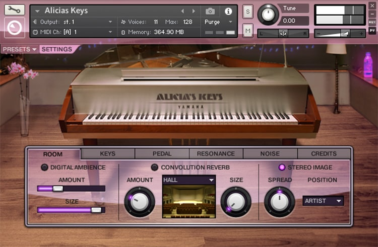 Interface da Library Native Instruments - Alicia's Keys (KONTAKT)