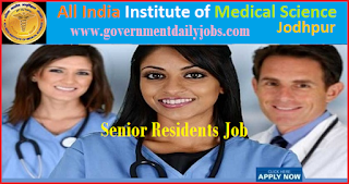 AIIMS Jodhpur Recruitment 2018 for Senior Resident 98 Posts