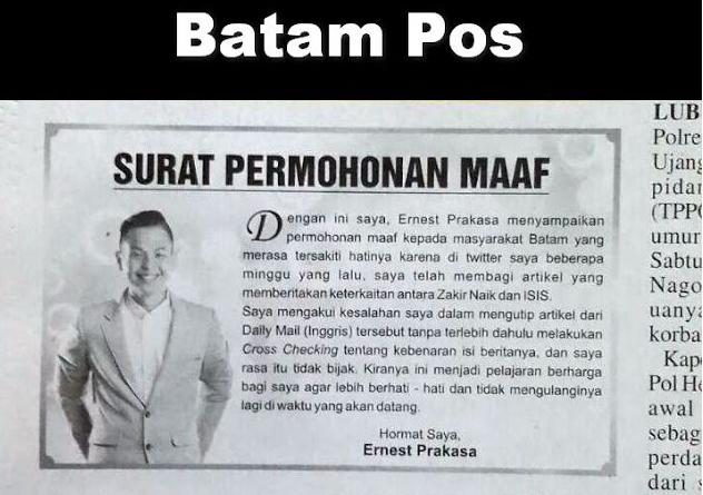 Demi Bisa Tampil di Batam, Pemfitnah Zakir Naik Ernest Prakasa Minta Maaf di Koran