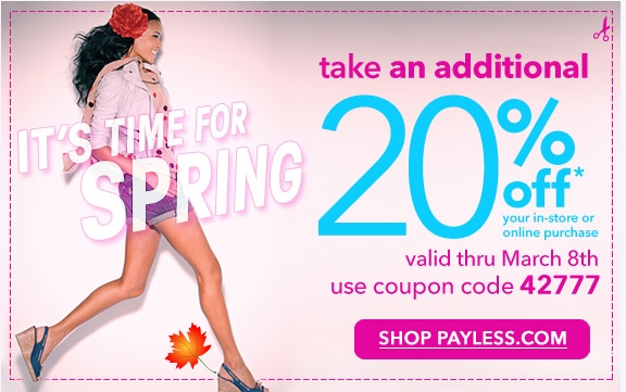 image about Payless Shoes Printable Coupon titled Canadian Day by day Specials: Payless Sneakers Canada: 20% Off Any