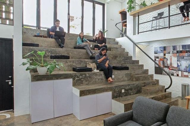 rumah, kantor, ruang kantor, rumah dua lantai