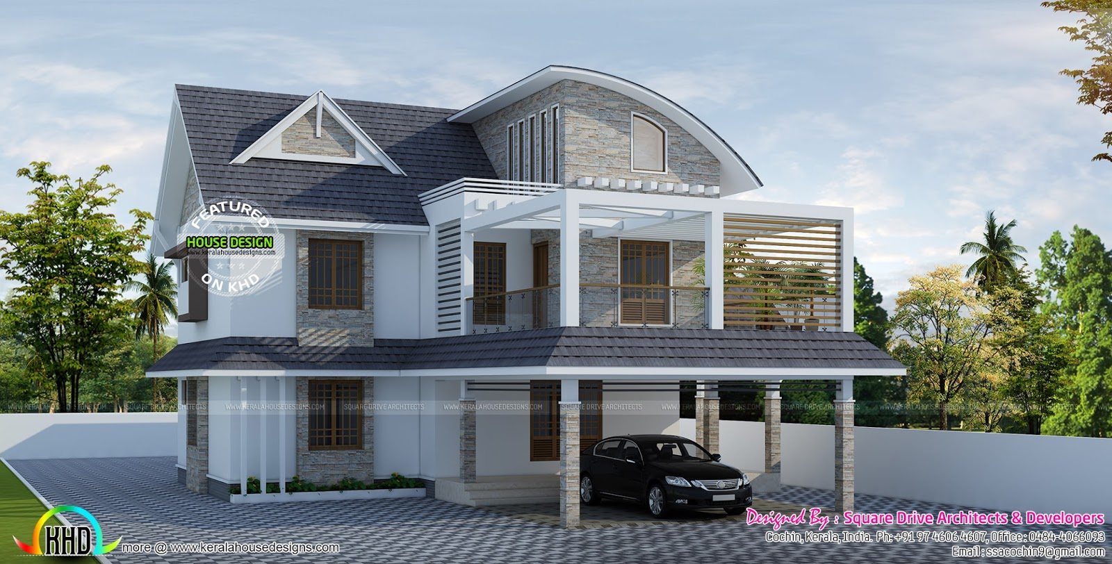 Curved roof mix villa architecture kerala home design for Curved roof house plans