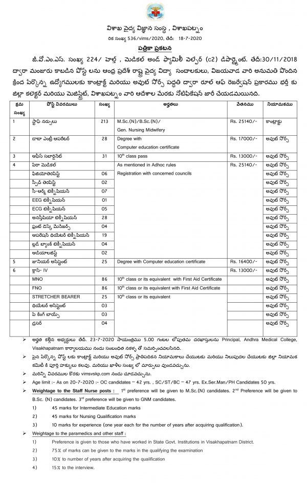 582 VIMS Vizag Staff Nurse, FNO, MNO, Junior Assistant, DEO, Technician, Manager, Dresser, Packing Boys Outsourcing Jobs