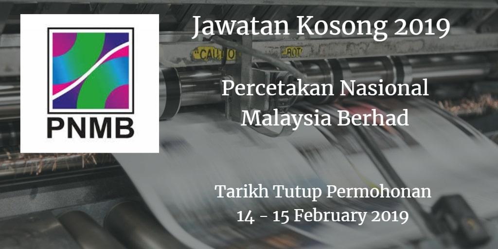 Jawatan Kosong PNMB 14 - 15 February 2019
