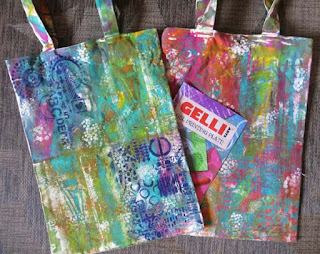 Gelli Plated Canvas Bag Video Tutorial by Lynn Shokoples
