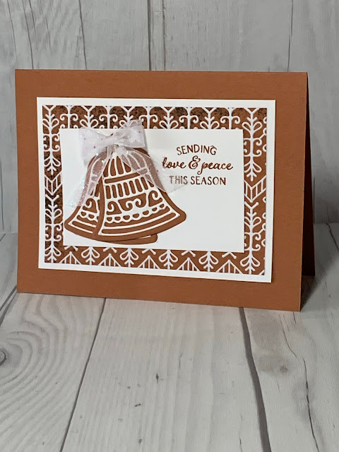Two bells on a handmade Christmas Card using Stampin' Up! Frosted Gingerbread Bundle
