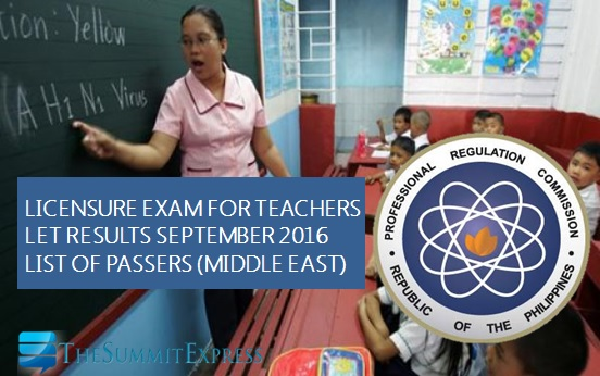 September 2016 LET teachers board exam (Middle East)