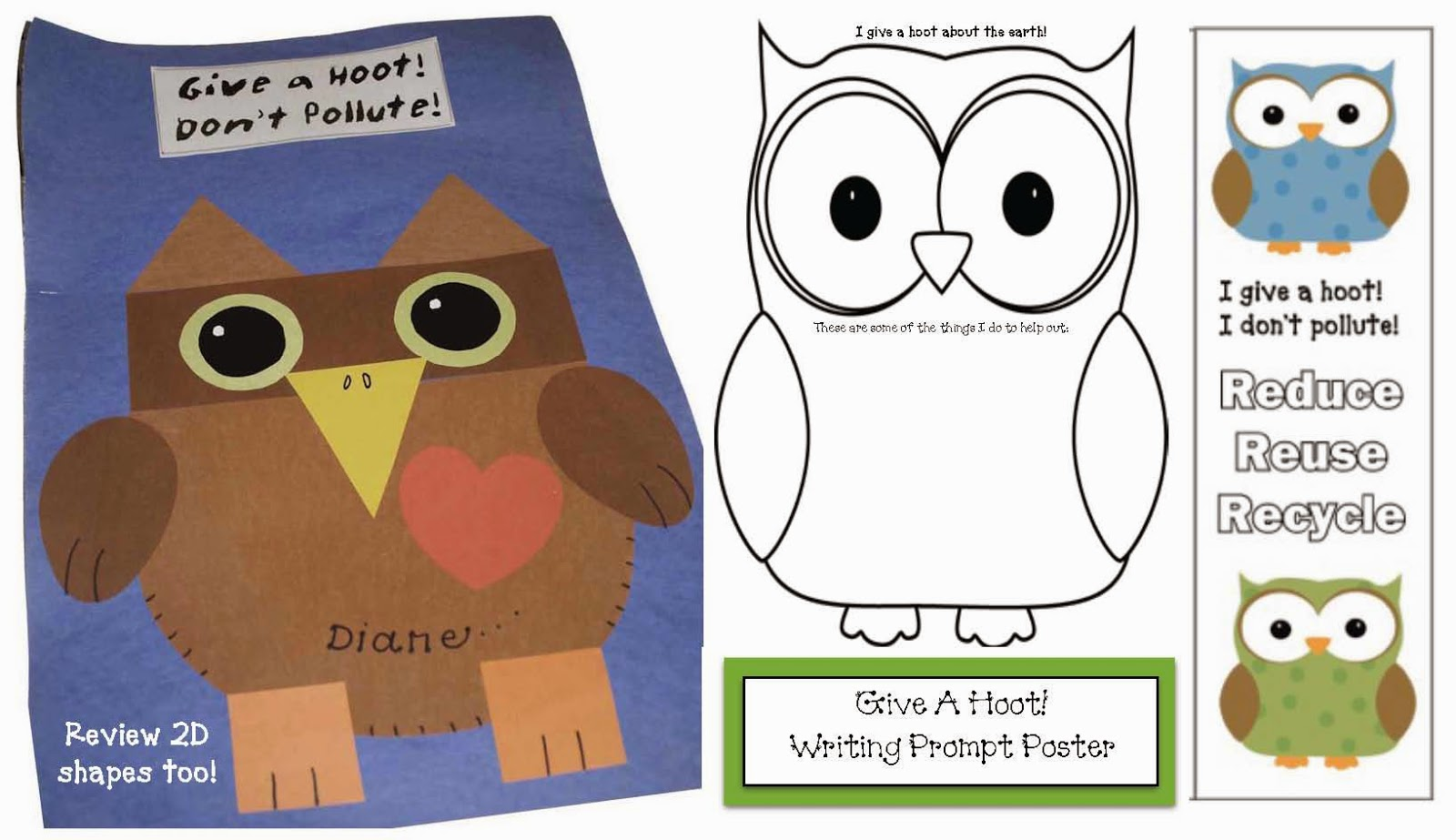 Classroom Freebies Give A Hoot Don T Pollute Writing Prompt Craftivity