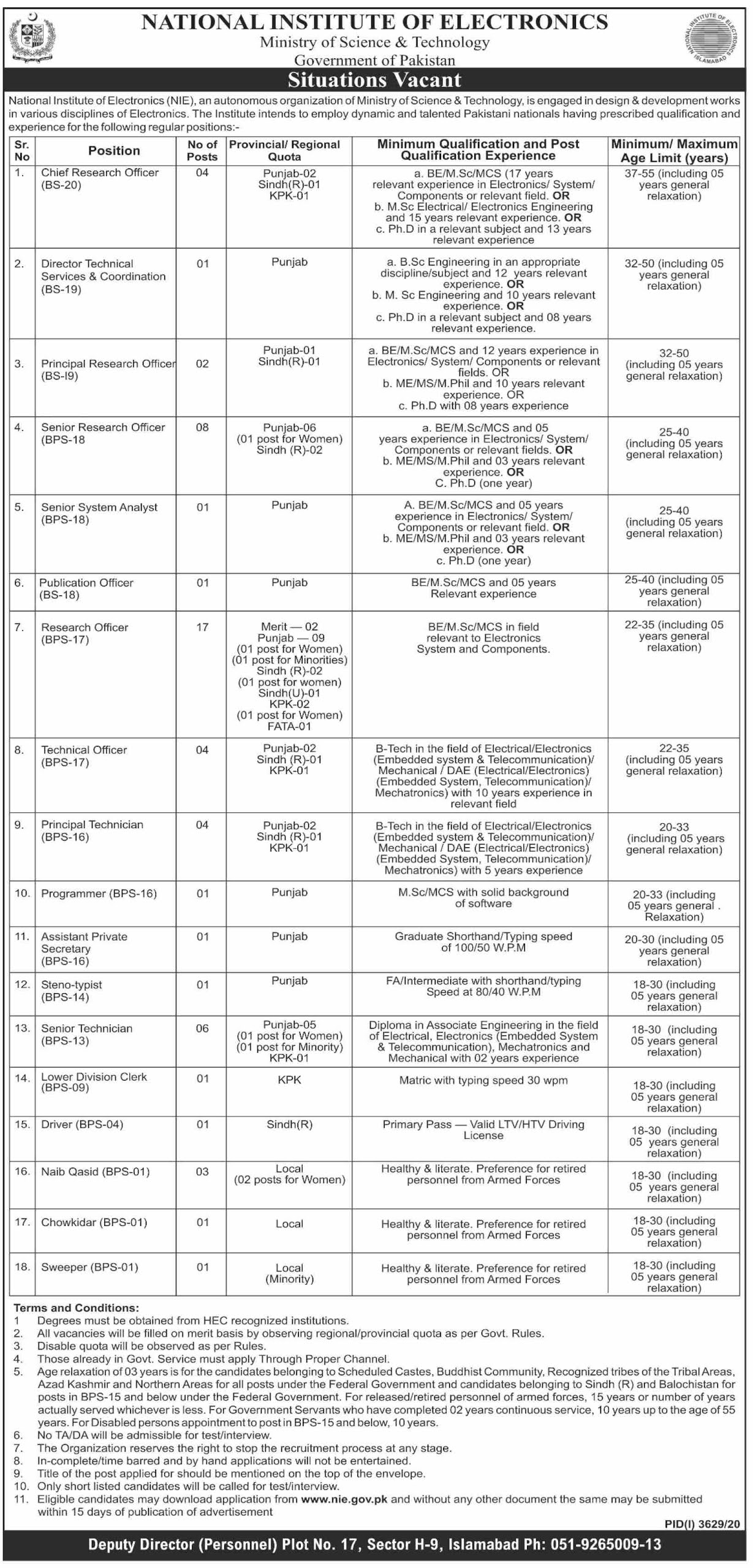 National Institute of Electronics NIE Jobs 2021 - Ministry of Science & Technology Jobs 2021 - Download NIE Jobs 2021 Application Form - www.nie.gov.pk