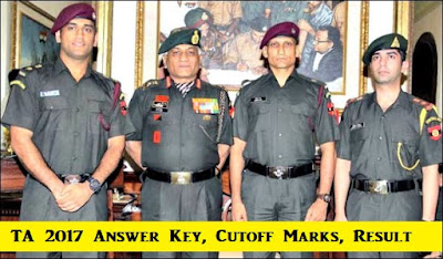 Territorial Army TA 2017 Answer Key, Expected Cutoff Marks, Result Date