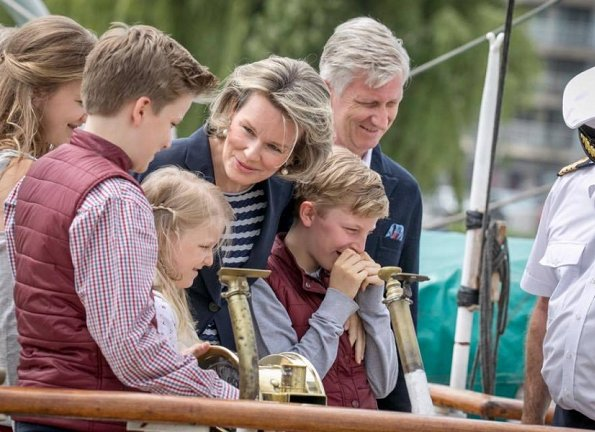 King Philippe, Queen Mathilde, Crown Princess Elisabeth, Princess Eleonore, Prince Emmanuel and Prince Gabriel visited the Mercator sailing ship