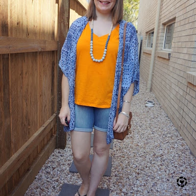 awayfromtheblue Instagram | orange tee blue printed kimono bermuda denim shorts park play date outfit
