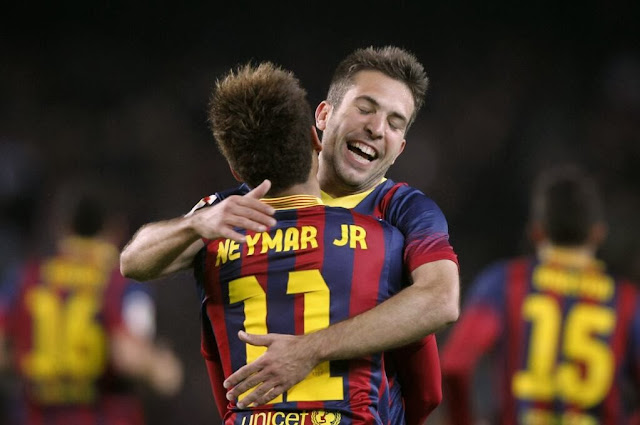 Neymar and Jordi Alba Celebrating