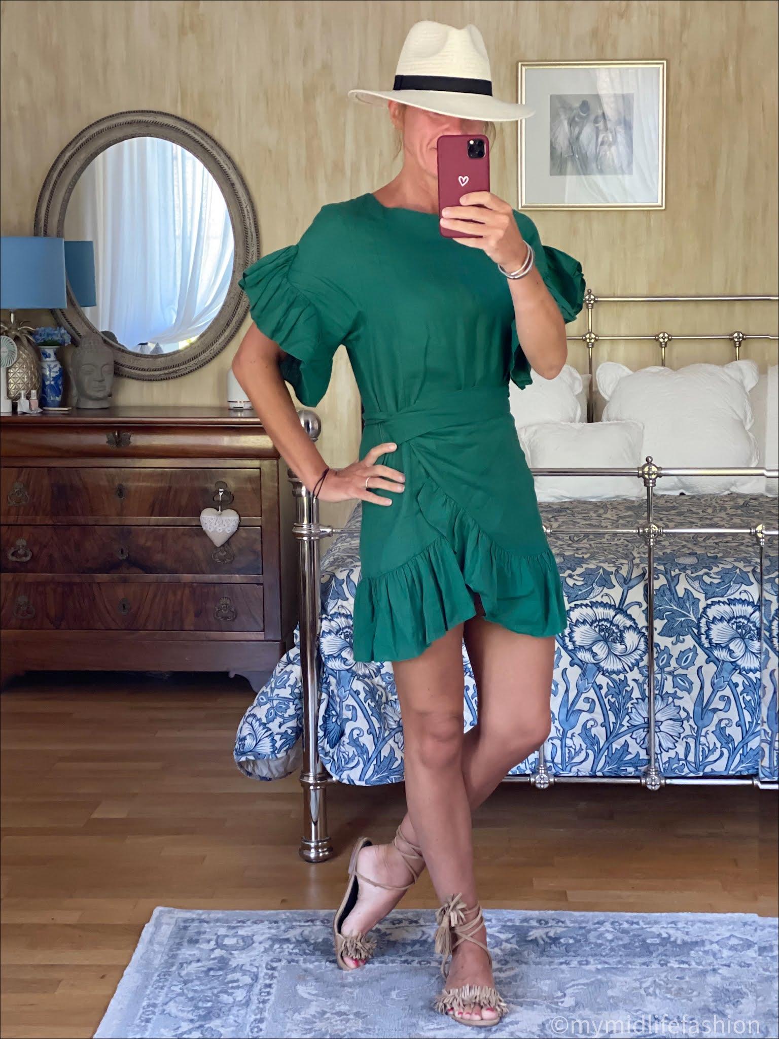 my midlife fashion, Zara Panama hat, Isabel Marant Etoile linen wrap around dress, suede wrap around flat sandals