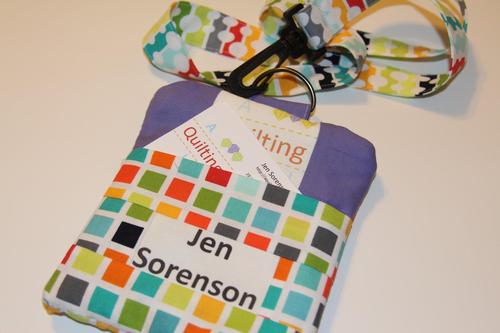 a quilting jewel name badge business card holder