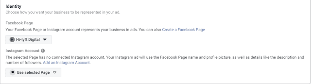 Facebook ad connect a page