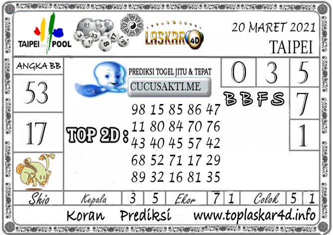 Prediksi Togel TAIPEI LASKAR4D 20 MARET 2021