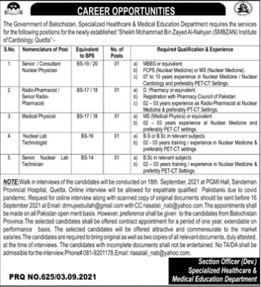 JOBS | The Government of Balochistan, Specialized Healthcare & Medical Education Department