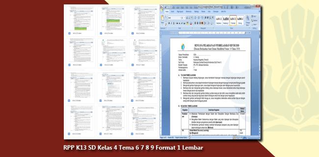 RPP K13 SD Kelas 4 Tema 6 7 8 9 Format 1 Lembar