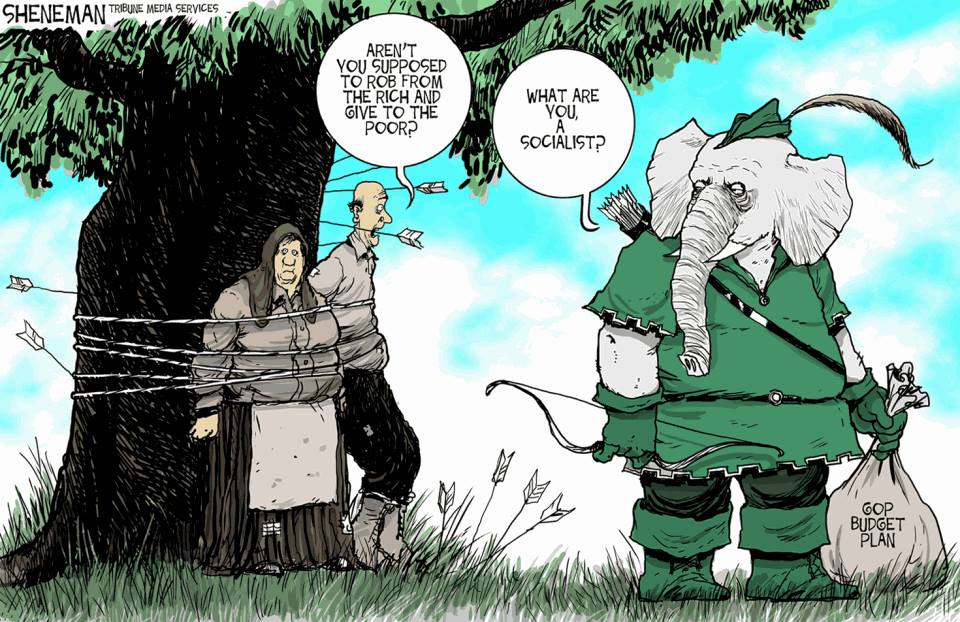 Drew Sheneman cartoon - Republicans as Robin Hood robbing from the poor to give to the rich