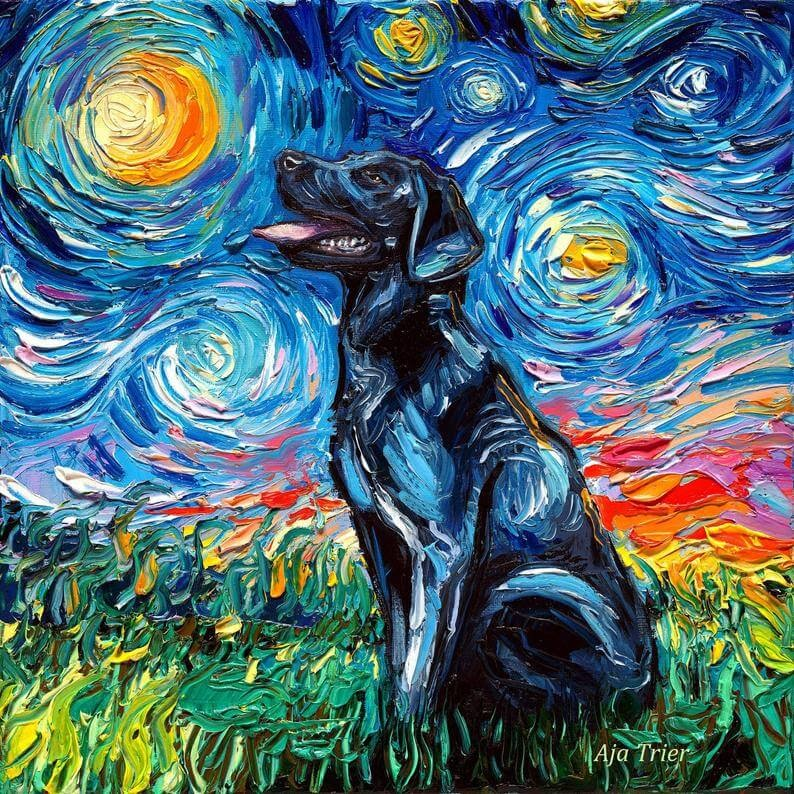 04-Black-Labrador-Aja-Trier-The-Starry-Night-Dog-Paintings-www-designstack-co