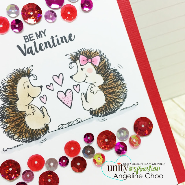ScrappyScrappy: Unity DT Hop: Pink and Red Valentine Sequin border #scrappyscrappy #unitystampco #valentine #card #hedgehog #cardmaking #papercraft #sequin