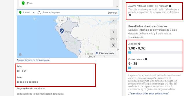 Estimaciones de alcance y conversiones con presupuesto en Facebook  Perú