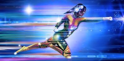 Superhero Woman Speeding Ahead