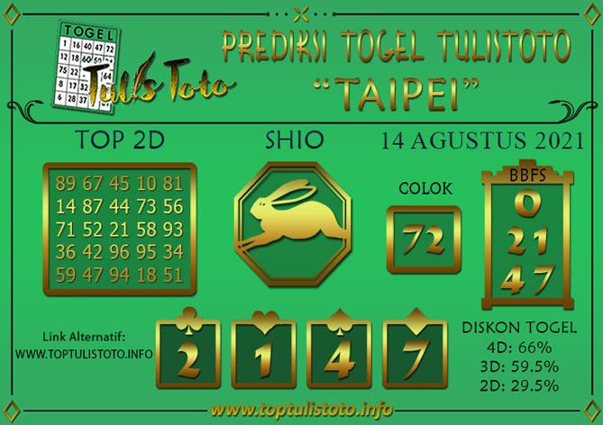 Prediksi Togel TAIPEI TULISTOTO 14 AGUSTUS 2021
