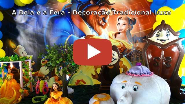 Vídeo decoração tradicional luxo tema A bela e a Fera
