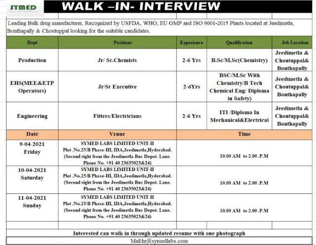 Symed Labs | Walk-in interview for Production/EHS/Engg on 9,10&11th Apr 2021