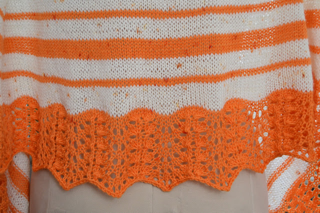 closeup photo of the lace border on the Out of Winter shawl.