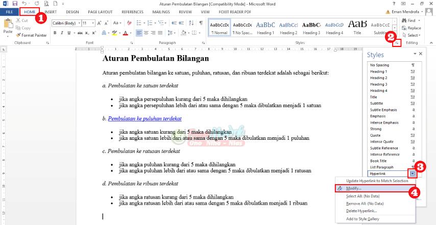 Cara mengubah warna teks hyperlink word