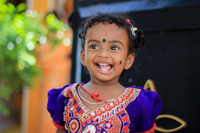 Picture of a beautiful child in Indian style