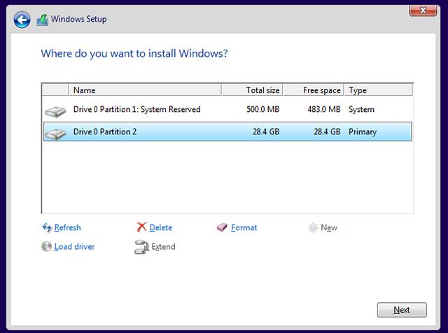 windows select partition