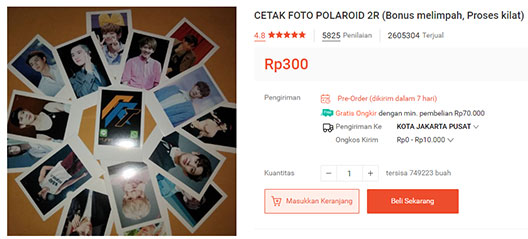 Top 1 produk terlaris jasa cetak foto polaroid di Shopee