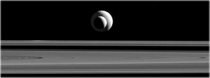 luas de saturno alinhadas - Encélado e Tétis