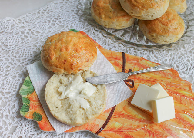 Food Lust People Love: These fluffy cheddar herb scones have the most wonderful flavor, not just from the cheese and herbs but also from the yeast used as the rising agent. The cheese and herbs are subtle in these scones but that just makes them more versatile. My family ate a few for breakfast but I also served them with pork and bacon patties as a sort of alternative burger for dinner. Delicious!