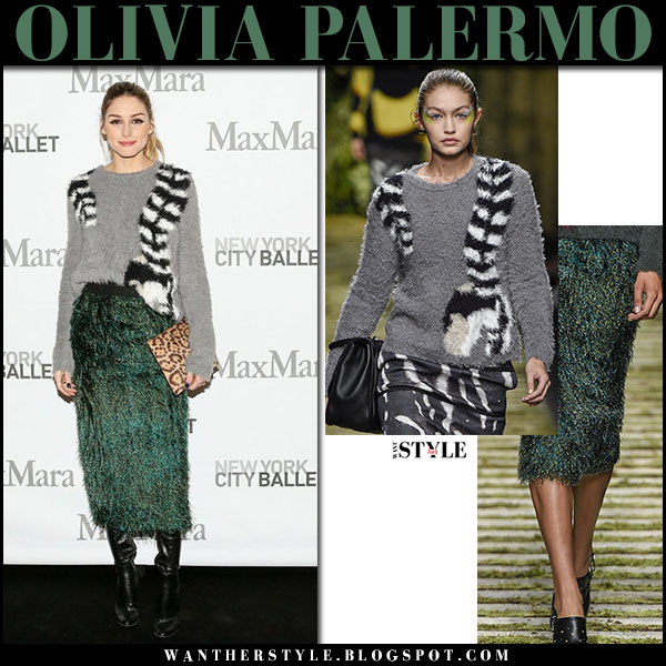 Olivia Palermo in grey knit sweater and green fur fringe midi skirt maxmara nyfw outfit what she wore