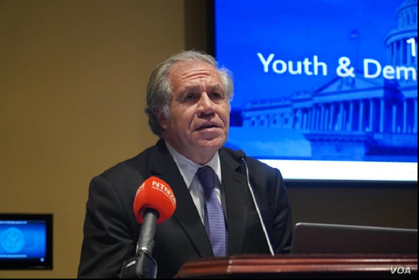 El secretario general de la Organización de los Estados Americanos, Luis Almagro, durante una conferencia en Washington D.C. / VOA