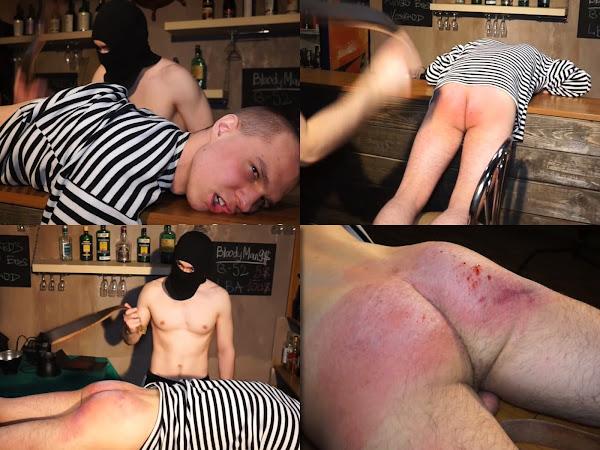 #RusStraightGuys - Sailor Sanechek 19 y.o. Belt spanking in the bar