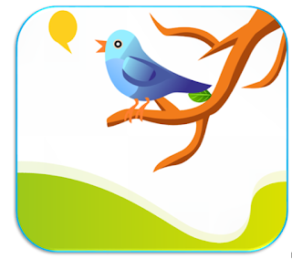 Piirroskuva, missä oksalla istuu Twitterin logoa muistuttava sininen lintu ja laulaa.