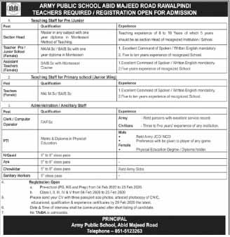 Latest  Section Head, Teachers required in Army Public School And College