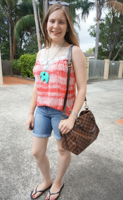 printed crochet tank Jeanswest Trinity bermuda denim shorts LV Speedy bag | Away From Blue